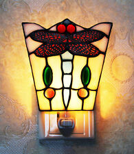 Makenier Tiffany Style Stained Glass Dragonfly Small Wall Lamp Night Light