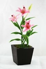 """Real Touch Lily Flowers Stem Flexible Artificial Clay Flower 5"""""""