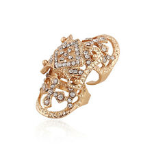 1Pc Exaggerated Jewelry Gold Silver Plated Rhinestone Cross Armour Ring Finger