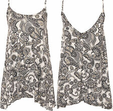 New Womens Plus Stretch Paisley Strappy Sleeveless Vest Ladies Cami Top