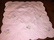 American Girl Bitty Baby Pink Quilted Blanket W/ Embroidered Heart Flowers RARE