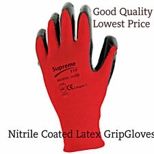24 PAIRS NEW RED BLACK NITRILE COATED WORK GLOVES BUILDERS CONSTRUCTION GRIP XL