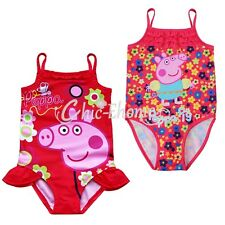 Lovely Girls Kids Pink Pig Tutu One Piece Swimming Costume Swimsuit Swimwear