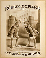 Photo Printed Old Poster: Theatre Flyer 1800s Robson Crane In Comedy Of Errors 0