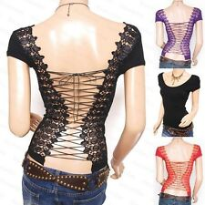 Sexy Unique Lace Up Cross Strap Embroidered Cap Sleeves Backless Shirt Top