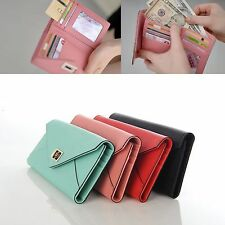 Genuine Leather Envelope Trifold Wallet Purse Holder Clutch Bag Women Fashion