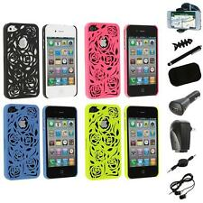 Color Lovely Carving Rose Flower Rear Hard Case+8X Accessory for iPhone 4 4G 4S