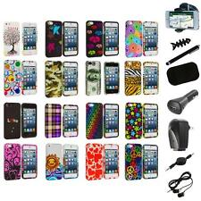 Colorful Design Hard Snap-On Rubberized Case Cover+8X Accessory for iPhone 5 5S