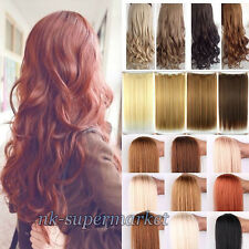 US Lady Full Head Clip in Remy Real Synthetic Human Hair Extensions Curly Wavy