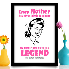 Mothers Day gift Mum Mother Mummy Birthday PERSONALISED A4 print 'Legend Quote'