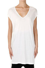 RICK OWENS New women White Sleeveless Tee FLOATING t-shirt top Silk Made Italy