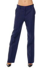 VALENTINO Woman Blue Virgin Wool & Silk Trousers Made in Italy