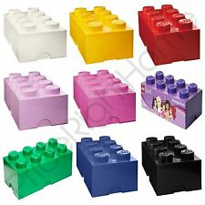 LEGO STORAGE BRICK BOX 8 KNOBS KIDS CHILDRENS BEDROOM PLAYROOM VARIOUS COLOURS