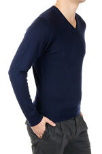 DOWNSHIFTING New Men Blue V Neck Sweater Wool Extrafine Cashmere Pullover NWT