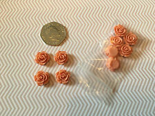 10 Peach Resin Rose Flower Beads Flat Back Craft Jewellery Making Sewing