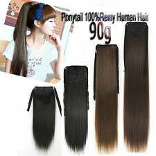 90g 16''~24'' Ribbon Ponytail Remy Clip In Real Human Hair Extensions Any Colors