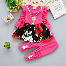 Baby Girls Toddler Cotton Lovely Flower Printed Shirt Dress Legging Pants Outfit