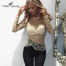 Sexy Women Golden Shimmer Sheer Top Long Sleeve Blouse Irregular Sequin T Shirt
