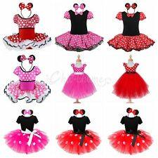 NEW KIDS MINNIE MOUSE COSTUME TUTU FANCY DRESS WITH EARS 1-10Y