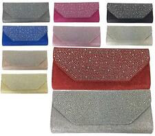 Womens Diamante Metallic Party Prom Bridal Evening Envelope Purse Clutch Bag