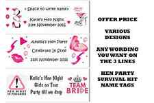 PERSONALISED HEN DO PARTY SURVIVAL KIT STICKERS PARTY BAG LABELS FAVOUR 3designs