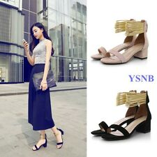 Fashion Women's Sexy Ankle Strappy Zipper Summer Block Heels Sandals Roman Shoes