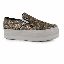 Jeffrey Campbell Play Glitter Platform Shoes Womens Multi Trainers Sneakers