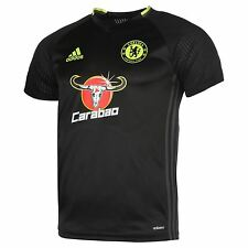 Adidas Chelsea FC Training Jersey Mens Black/Yellow Football Soccer Top Shirt