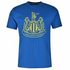 Newcastle United FC Large Crest T-Shirt Juniors Royal/Lime EPL Football Soccer