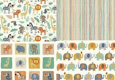 Baby Jungle by Makower Cute Nursery Animal fabric Patchwork Quilting