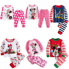 2PCS Toddler Kids Baby Boys Girls Cotton Sleepwear Pajamas Set Top Pants Outfits