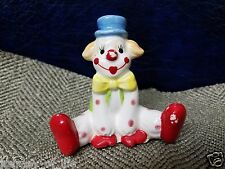 VTG Norcrest Sitting Ceramic Circus Clown Figurine Pink Dot Green Outfit Japan