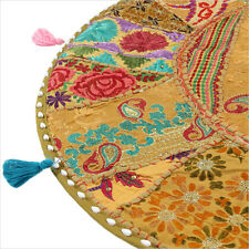 """28"""" Large Brown Round Floor Cushion Pillow Seating Throw Cover Bohemian Indian B"""