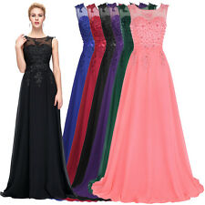 Beading Long Chiffon Wedding Formal Evening Party Bridesmaid Gown Prom Dress New
