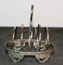 Vintage Antique Silver Plate Footed Toast Rack