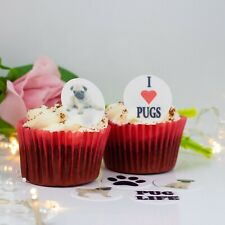 Pug Dog / Pug Life 24 x cupcake / cake toppers choice of Wafer Paper or Icing