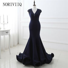 Womens Prom Dress Sleeveless Mermaid Evening Skirt Sexy V Neck Gown Beaded Stock