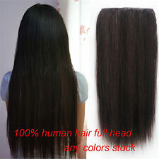 100g 3/4 Half Head 5Clips One Hairpiece Remy Clip In Real Human Hair Extensions