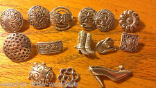 Tibetan Silver Buttons Round Flowers Square Filagree Rectangle Cowboy Boots Hats