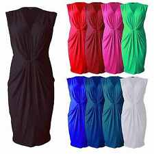 Womens Ladies Waist Knot Pleated Ruched Sleeveless V Neck Bodycon Midi Dress Top
