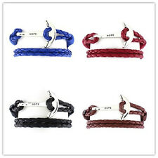 40cm Leather Men Bracelet Jewelry Man Anchor Bracelet Wristband Charm Bracelet
