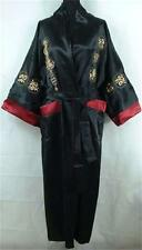 Double-face Chinese men's silk/satin bathrobe robe/gown Burgundy Sz M-XXXL