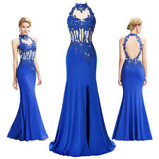 GK Backless Halter High-Split Appliques Lace  Evening Prom Party Cocktail Dress