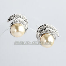 A1-E066 Fashion Rhinestone Pearl Stud Earrings 18KGP Crystal