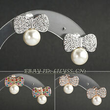 A1-E136 Fashion Rhinestone Bowknot Pearl Stud Earrings 18KGP Crystal