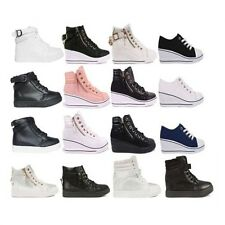 Womens Ladies Trainers Mid Heel Wedge Platform Lace Up High Top Ankle Boots Size