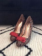 Anthropologie Miss Albright Specialty Brown Croc Red BOW Heels Sz. 9 $295