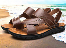 Mens Sandals Slippers  Leather Flat Sandals Casual Summer Beach Shoes Sandals