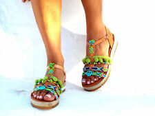 Pom pom Greek sandals, Handmade Sandals, Greek Sandals, hippie sandals, Bohemian