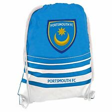 Portsmouth FC Drawstring Gym Bag Blue/Wht Football Soccer PE Sports Kit Sack
